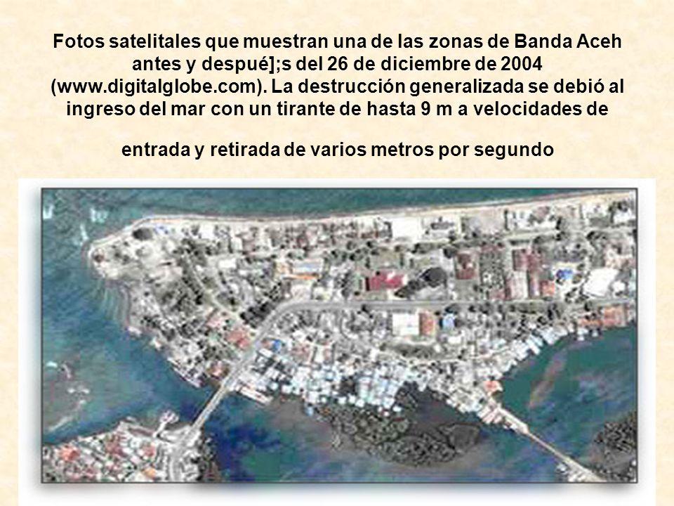 Fotos satelitales que muestran una de las zonas de Banda Aceh antes y despué];s del 26 de diciembre de 2004 (www.digitalglobe.com).